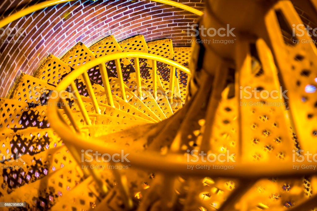 Spiral Barnegat Lighthouse stairs looking down stock photo