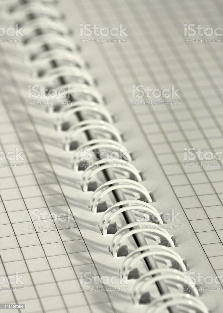 Spiral binding of notepad stock photo