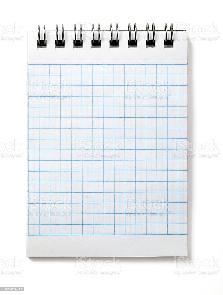Spiral blank notebook with checked paper royalty-free stock photo
