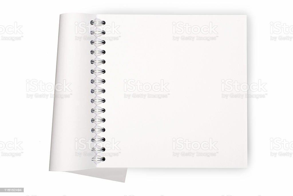 Spiral bound blank book or notepad stock photo