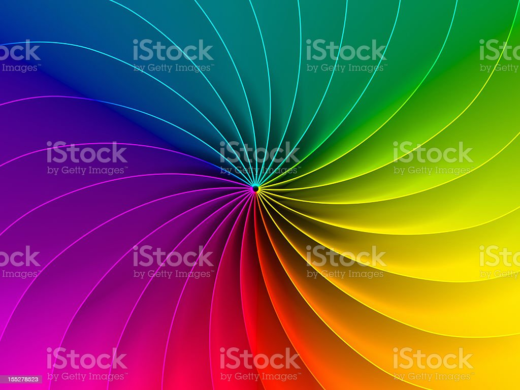 Spiral chromatic color wheel of primary colors stock photo