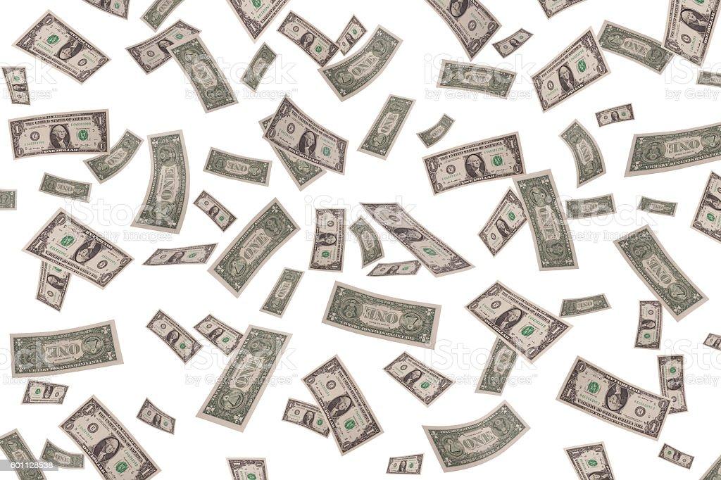 Spiral Falling dollars on white background stock photo