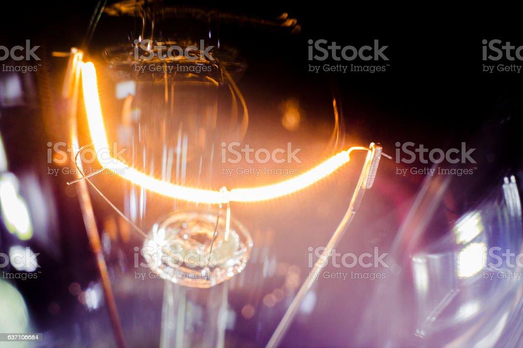 spiral filament light stock photo