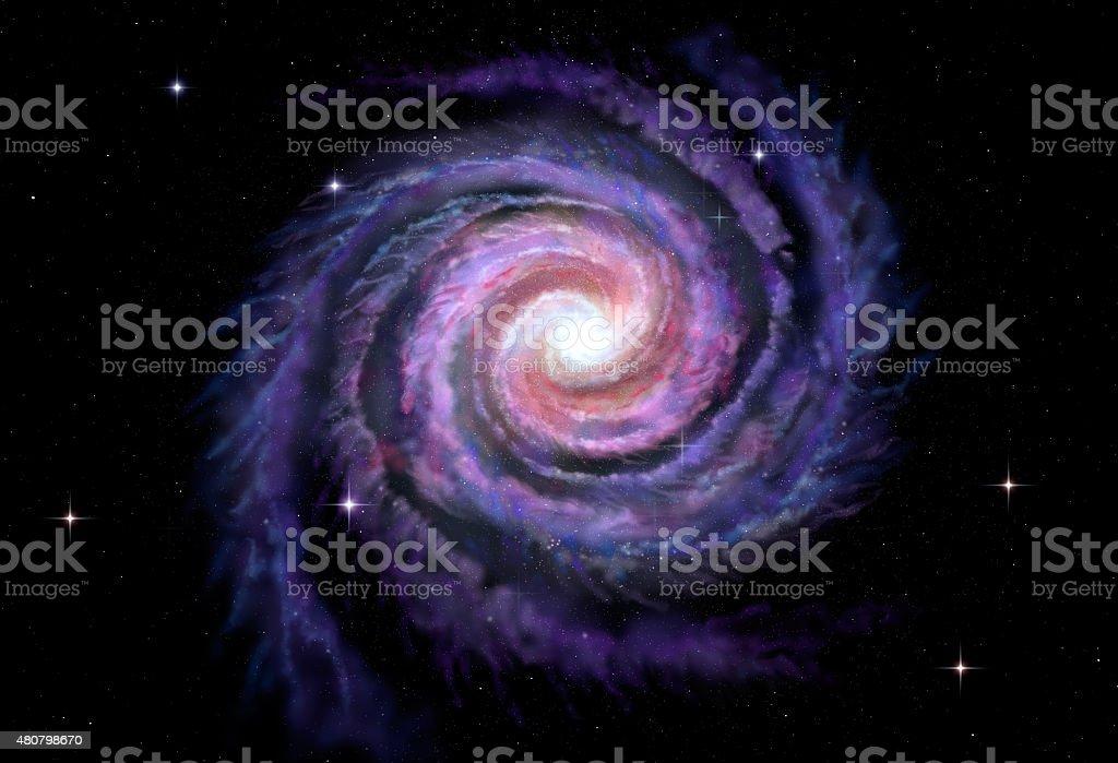 Spiral galaxy, illustration of Milky Way stock photo