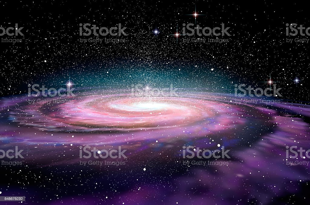 Spiral Galaxy in deep spcae, 3D illustration stock photo