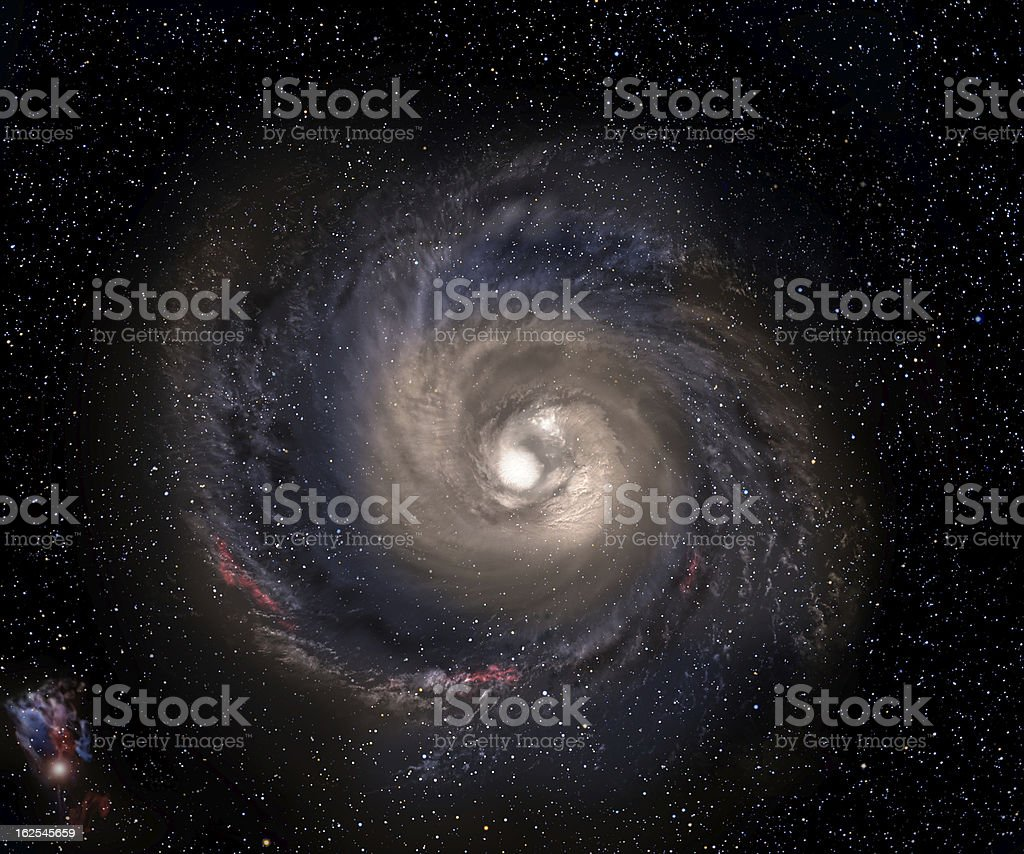 Spiral galaxy with starfield background. stock photo