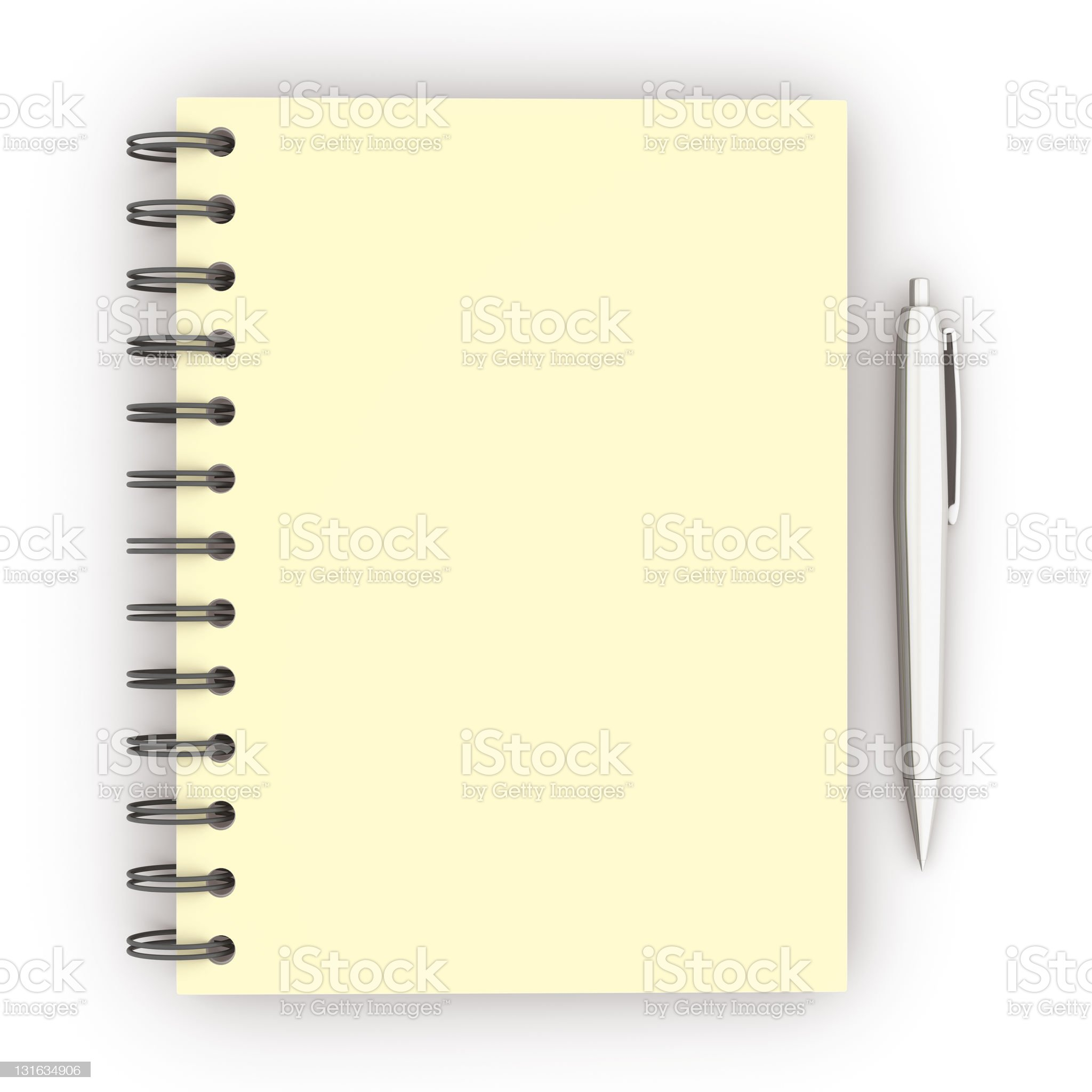 spiral notebook and pen royalty-free stock photo