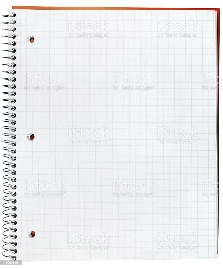 Spiral notebook graph paper royalty-free stock photo
