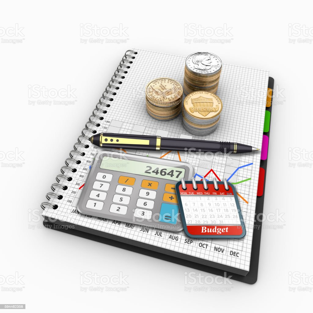 Spiral notebook on the topic of economics and finance stock photo