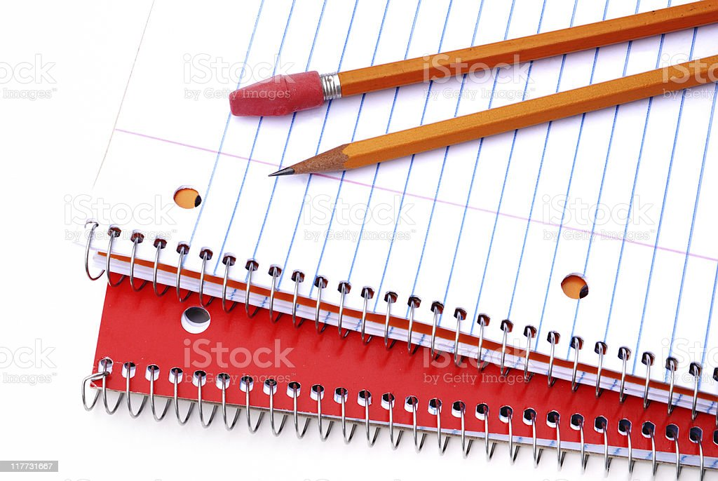 Spiral notebooks and pencils royalty-free stock photo