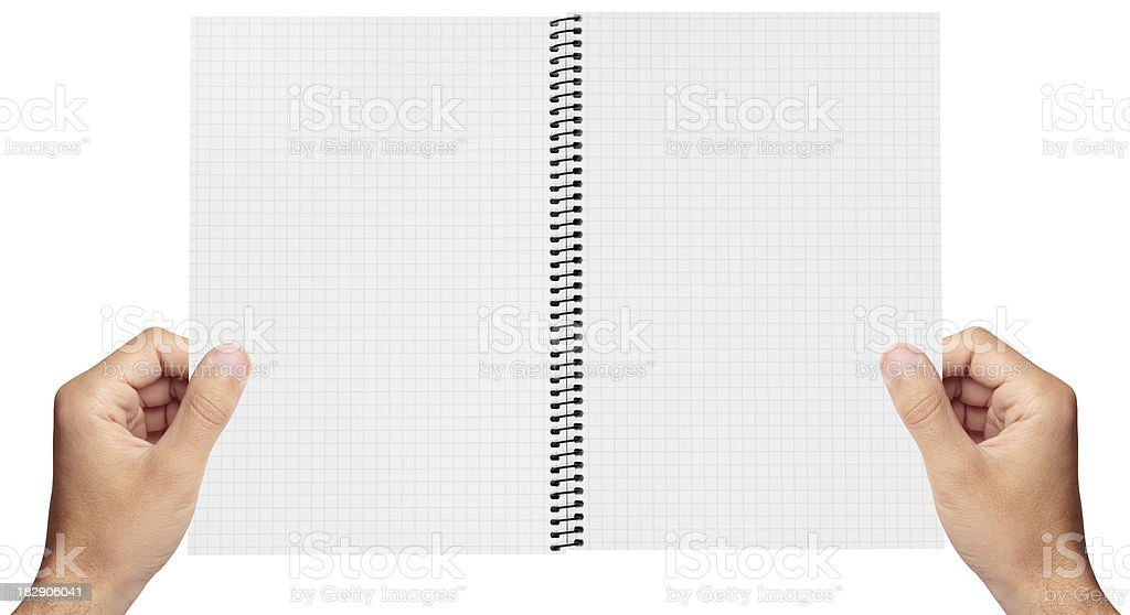 Spiral notepad in the hands of royalty-free stock photo