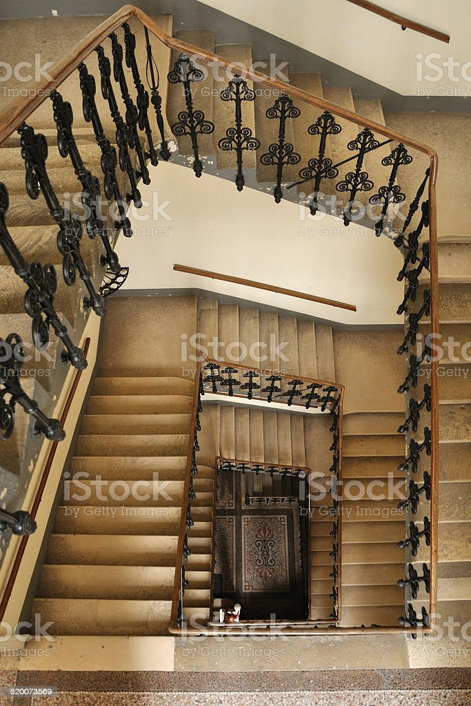 spiral of stairway in a living house stock photo