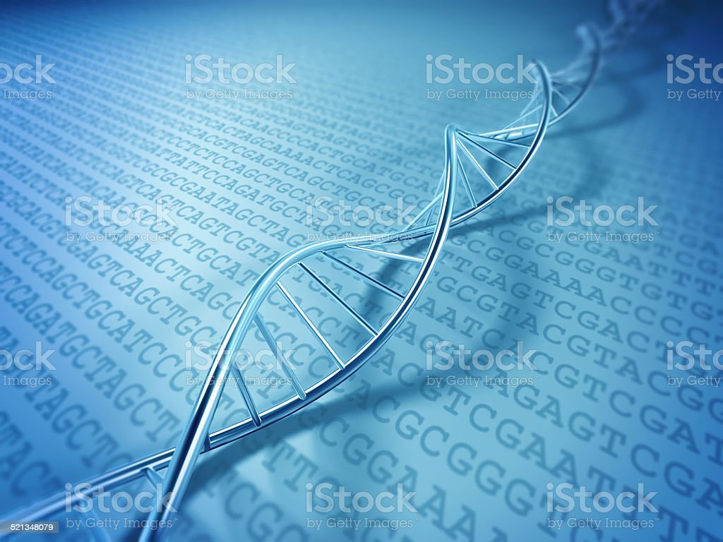 DNA spiral on DNA code stock photo
