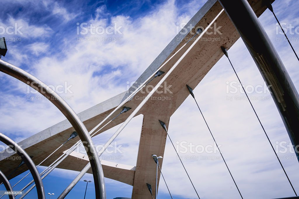 Spiral shaped modern bridge stock photo