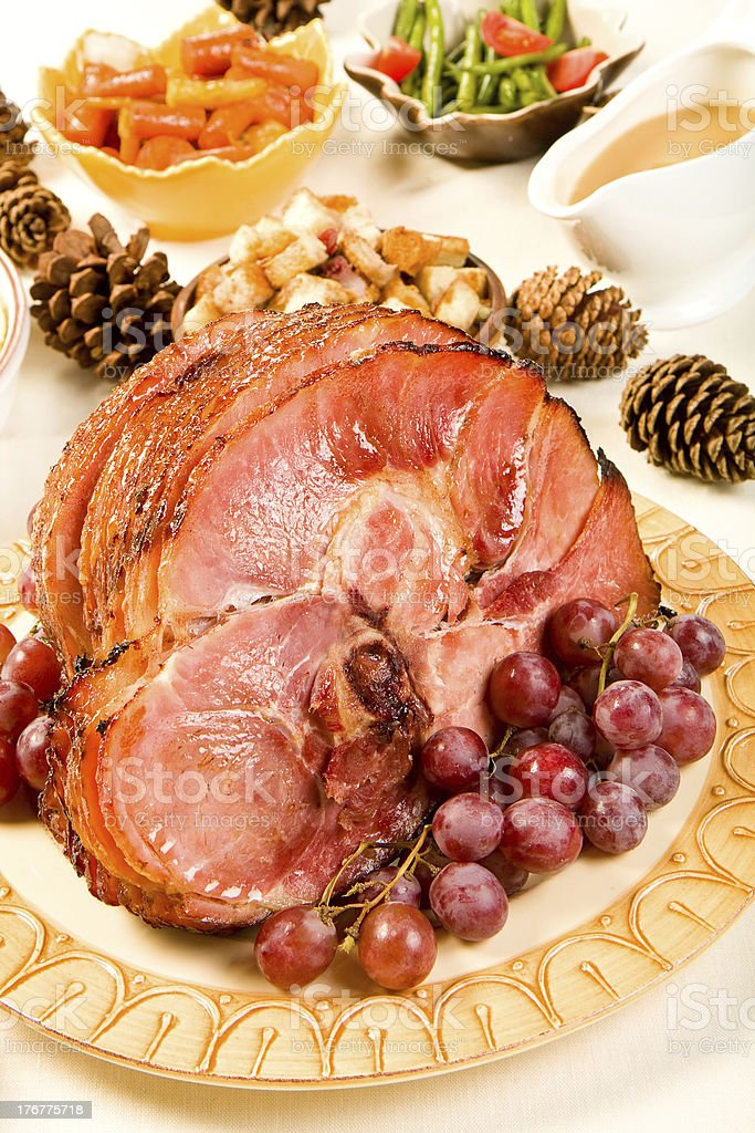 Spiral Sliced Ham stock photo