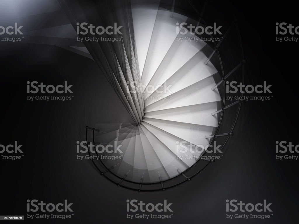 spiral stair 3D rendering stock photo