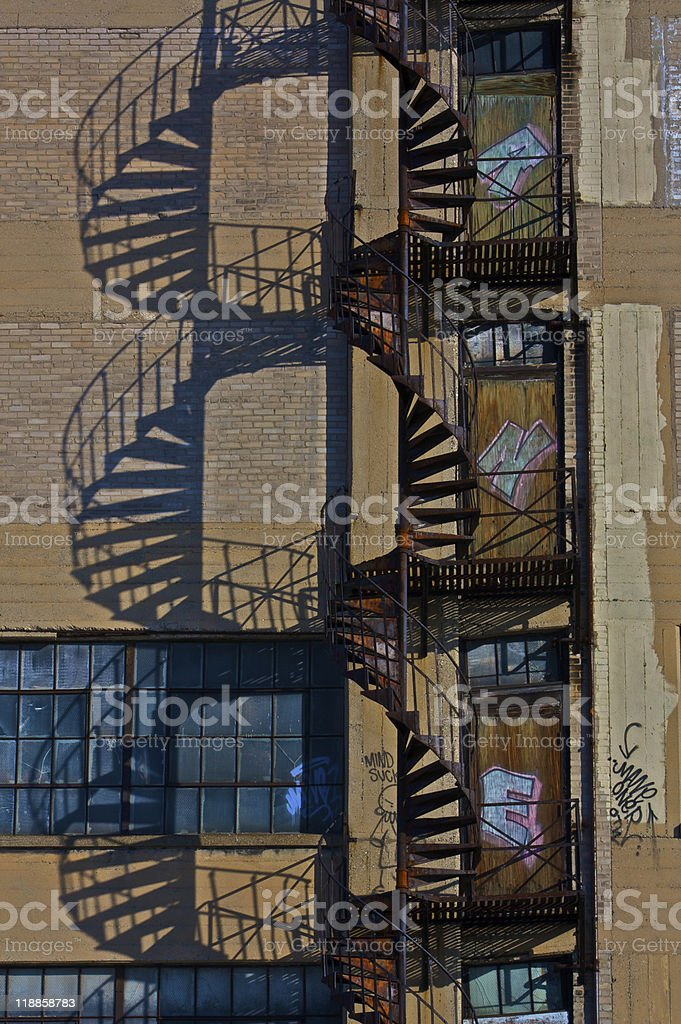 Spiral Stair Fire Escape stock photo
