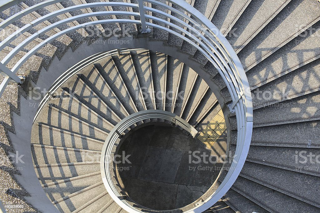 spiral stair of footbridge stock photo