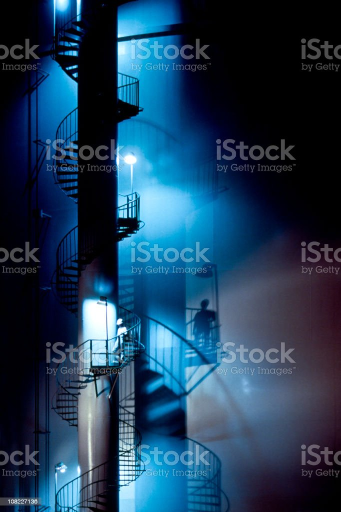 Spiral Staircase at Night royalty-free stock photo