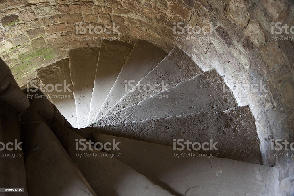 Spiral Staircase at Raglan Castle, Wales stock photo
