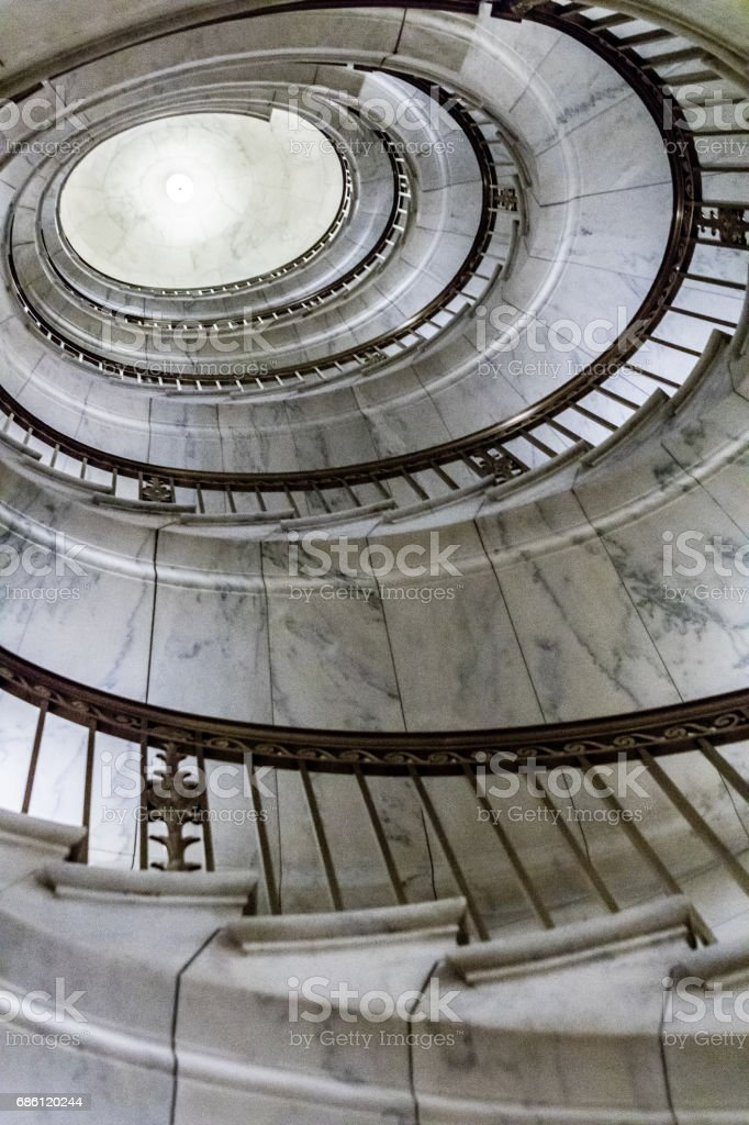 Spiral Staircase at US Supreme Court Building in Washington DC stock photo