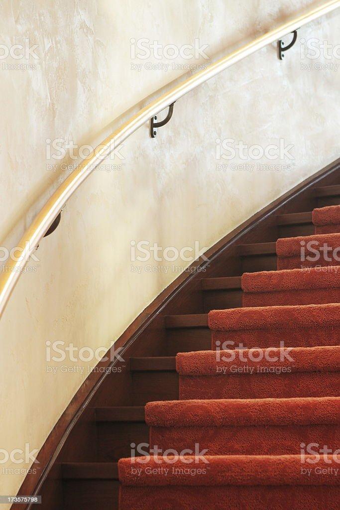 Spiral Staircase Carpet Railing Interior Decor stock photo