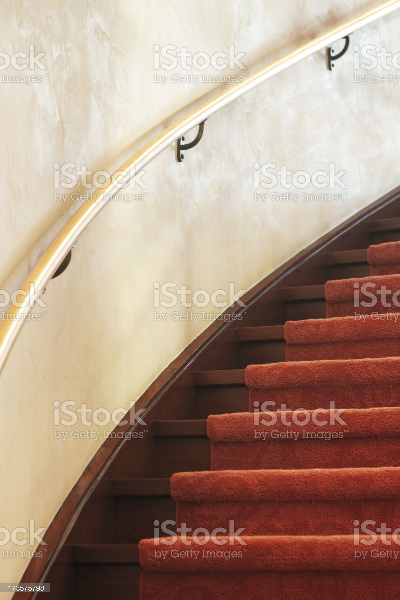Spiral Staircase Carpet Railing Interior Decor royalty-free stock photo