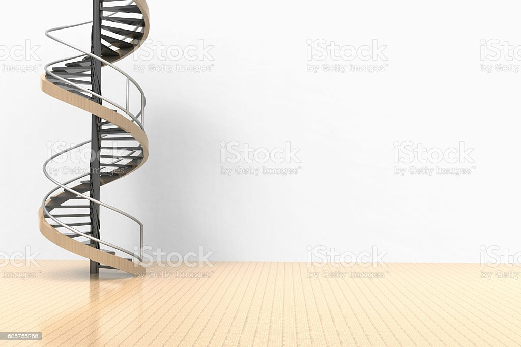 Spiral staircase hanged in Space on the Floor stock photo