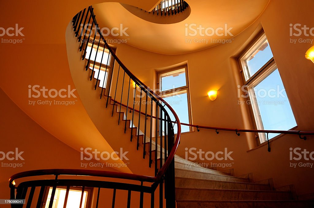 Spiral staircase in a modern office building royalty-free stock photo