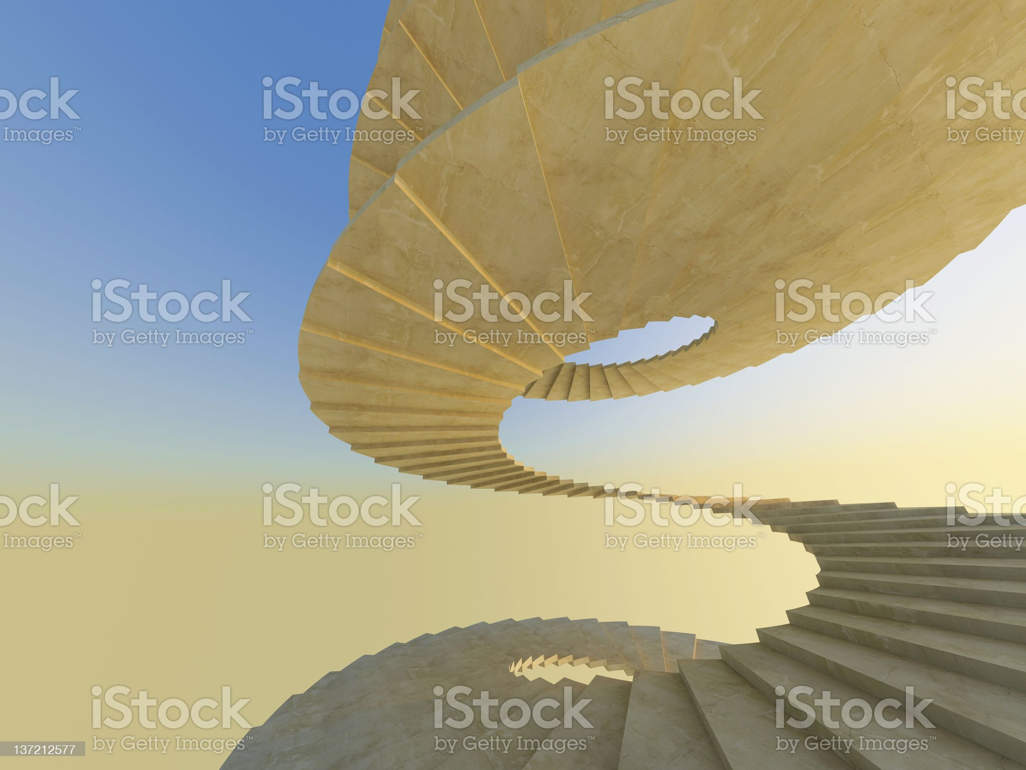 A spiral staircase in an abstract fashion royalty-free stock photo