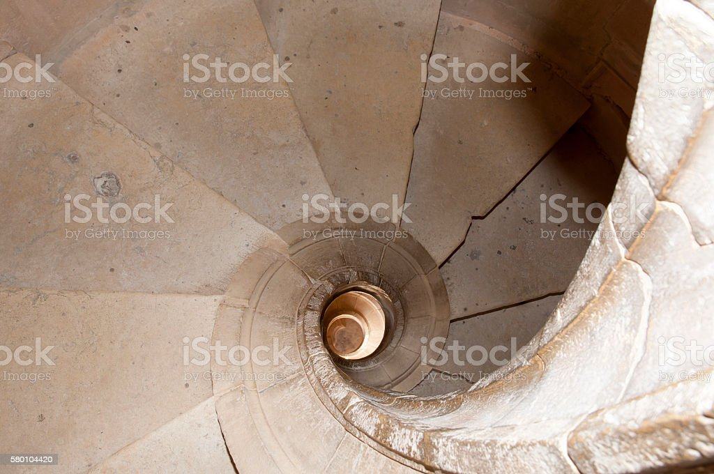 Spiral Staircase in Convent of Christ - Tomar - Portugal stock photo