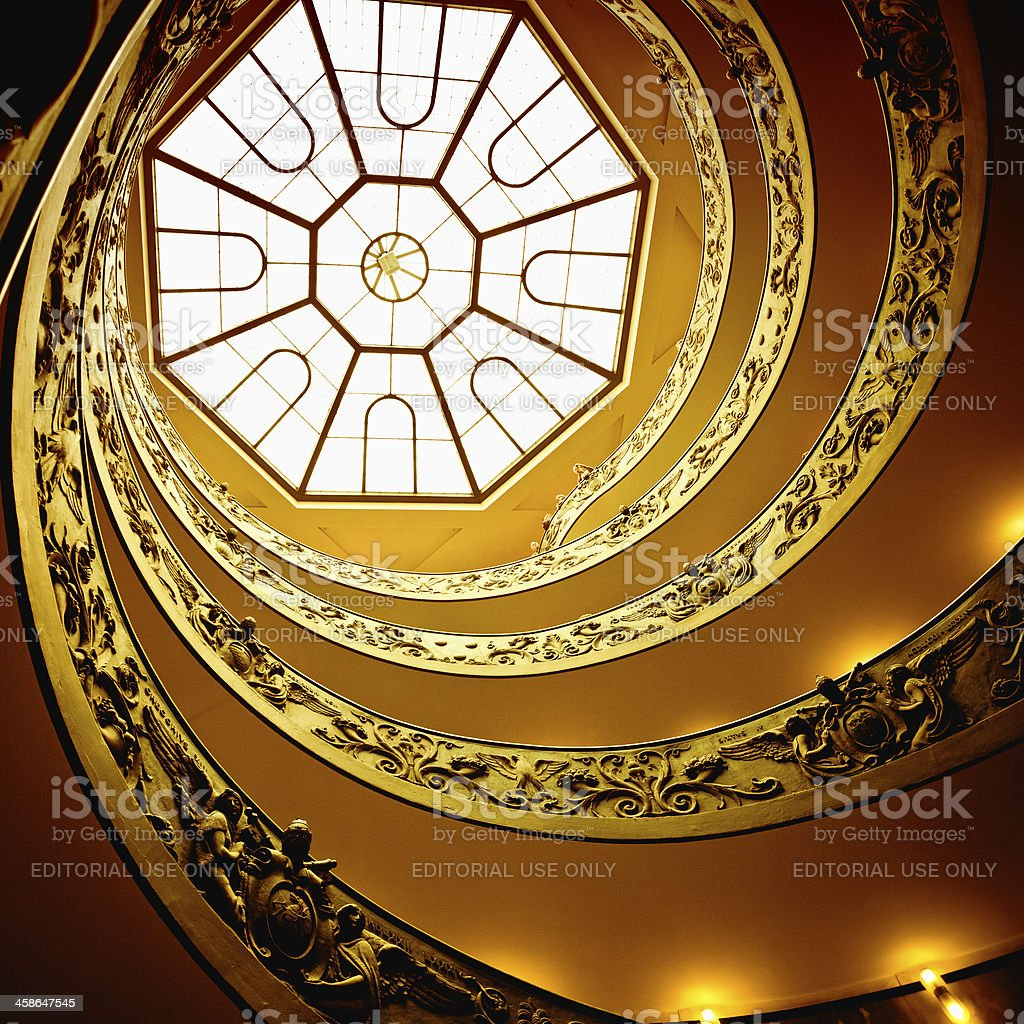 Spiral Staircase in Rome, Vatican City stock photo