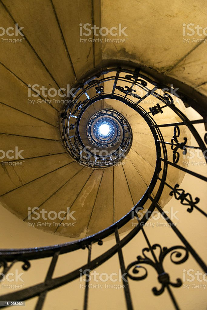 Spiral staircase in St. Stephen Basilica in Budapest stock photo