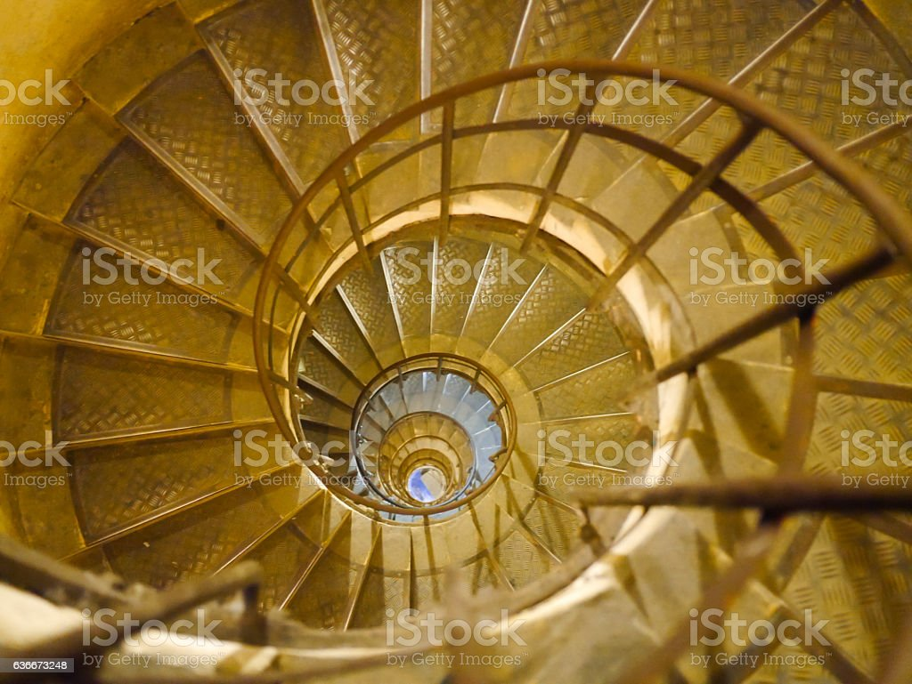 Spiral Staircase in Triumph de france, Paris, France stock photo