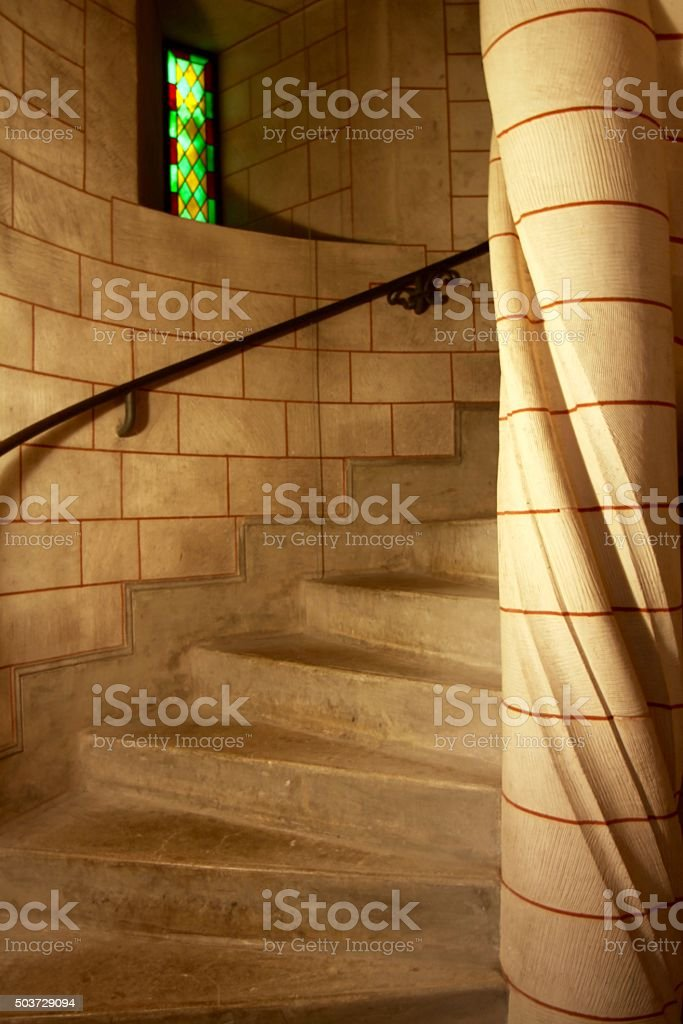 Spiral Staircase Inside A French Chateau stock photo