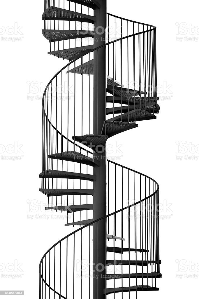 spiral staircase isolated on white stock photo