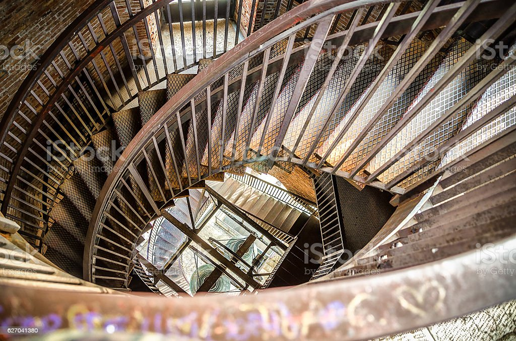 spiral staircase metal bell tower stock photo