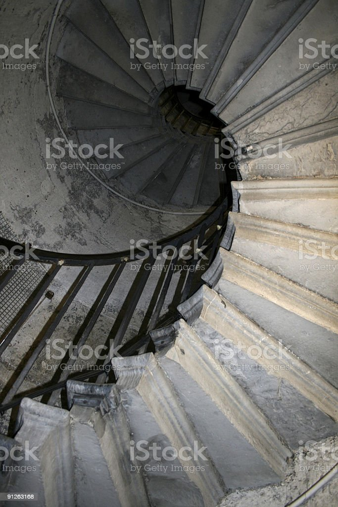 Spiral staircase - The Monument in London stock photo