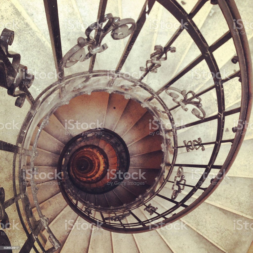 Spiral staircase to St Stephen's Basilica dome, Budapest stock photo