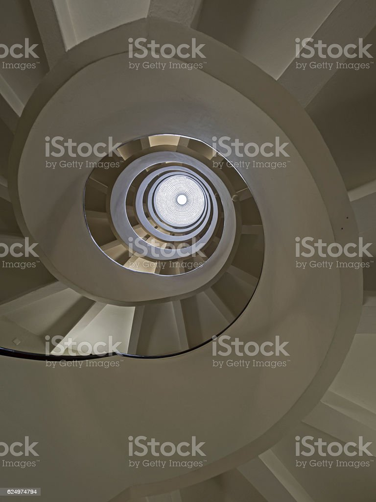 Spiral staircase with glass dome stock photo
