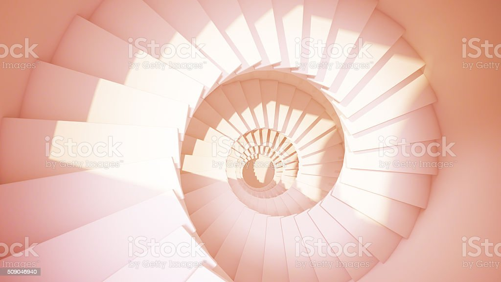 Spiral stairs in sun light sepia color abstract interior stock photo