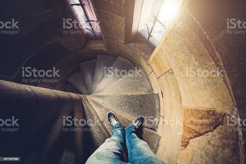 Spiral Stairs Inside Of Prague Tower stock photo