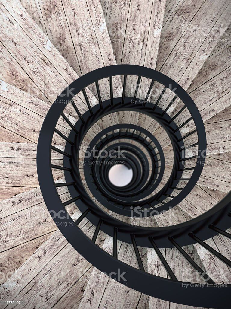 Spiral stairs with black balustrade stock photo