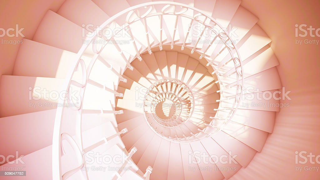 Spiral stairs with rails, sepia color abstract 3d interior stock photo