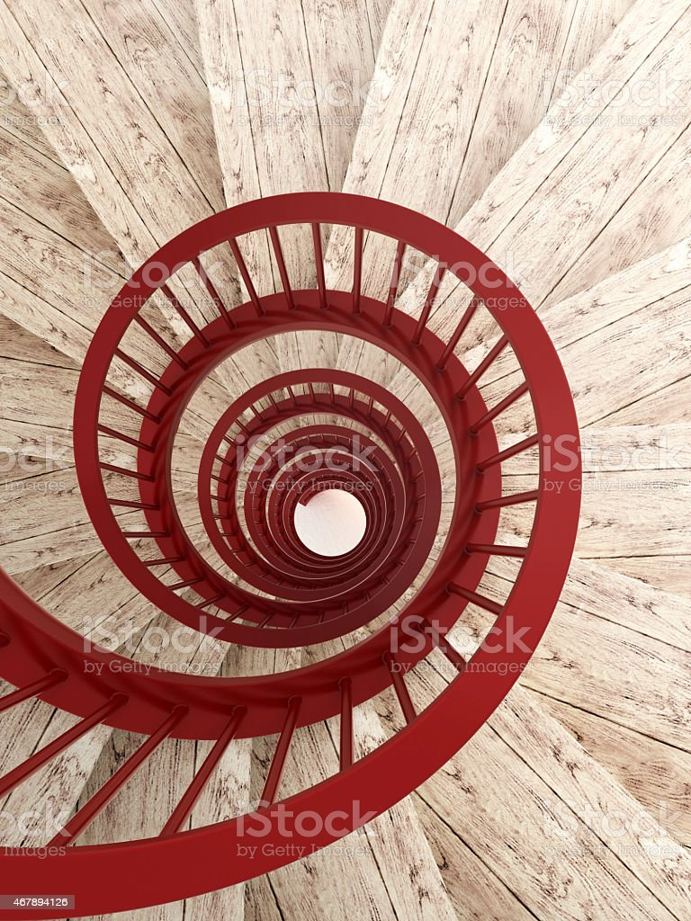 Spiral stairs with red balustrade stock photo
