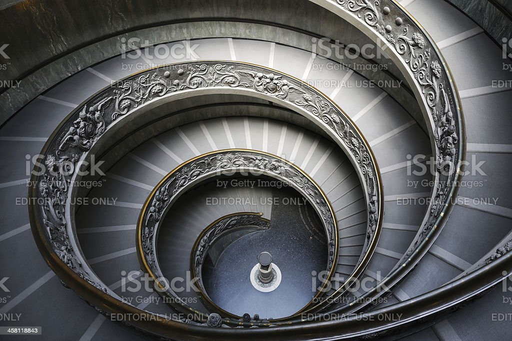 Spiral Stairway in the Vatican Museum, Rome, Italy (XXXL) royalty-free stock photo