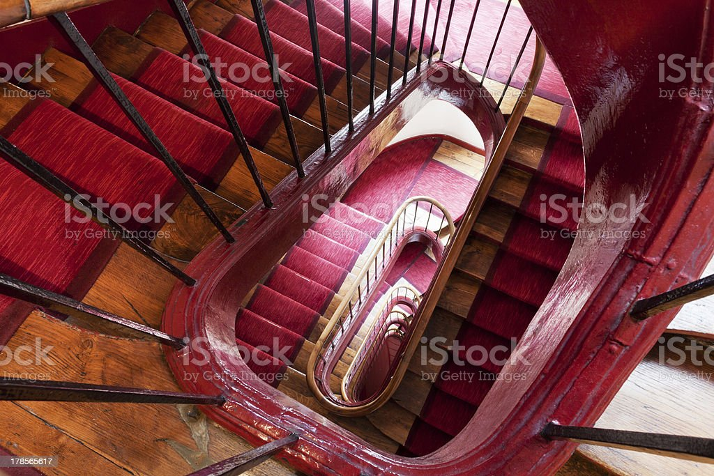 spiral steps in old house stock photo