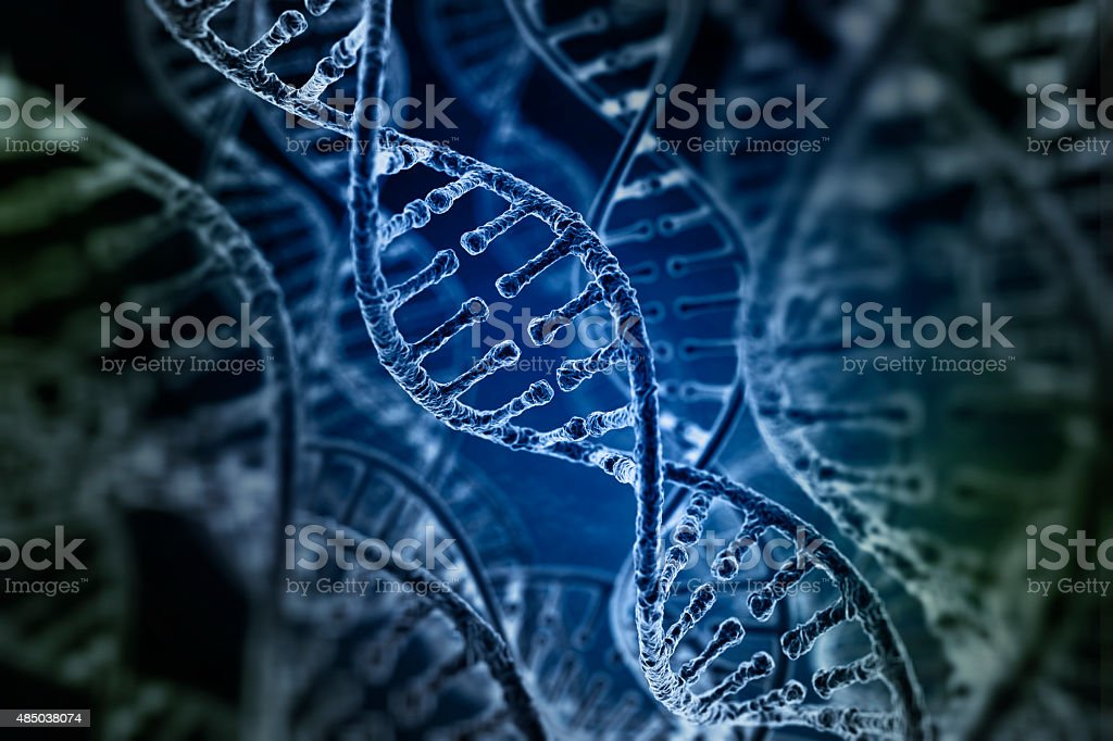 Spiral strands of DNA on the dark background stock photo
