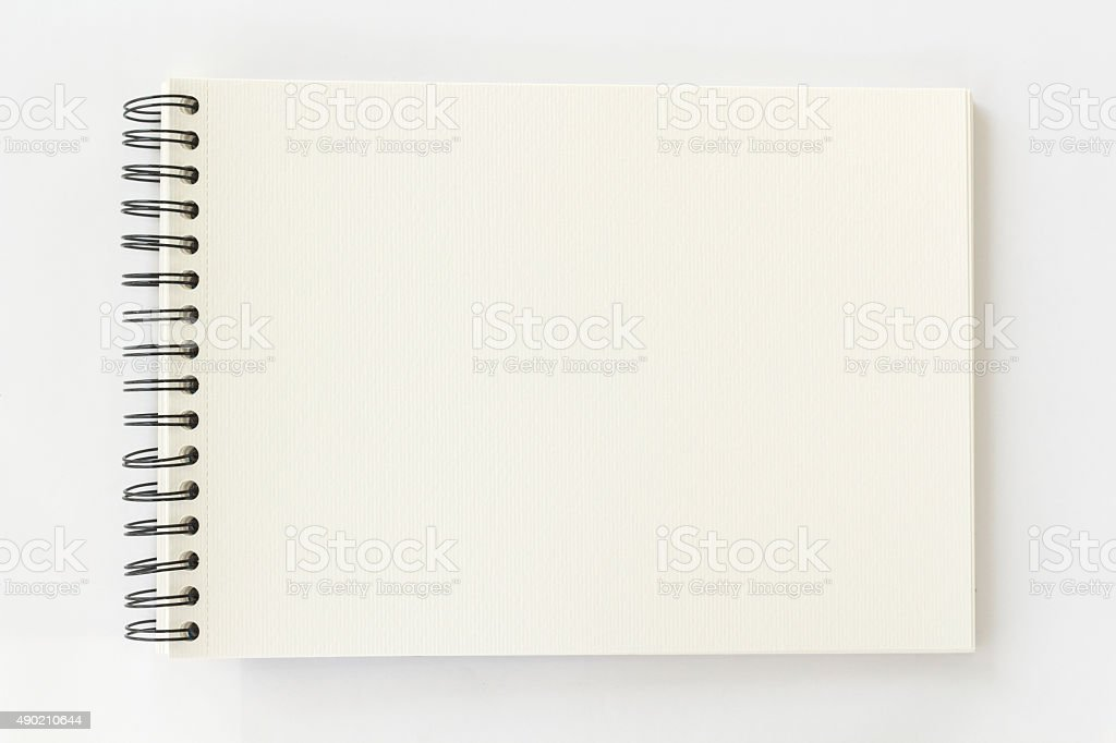 spiral watercolor book on white background stock photo