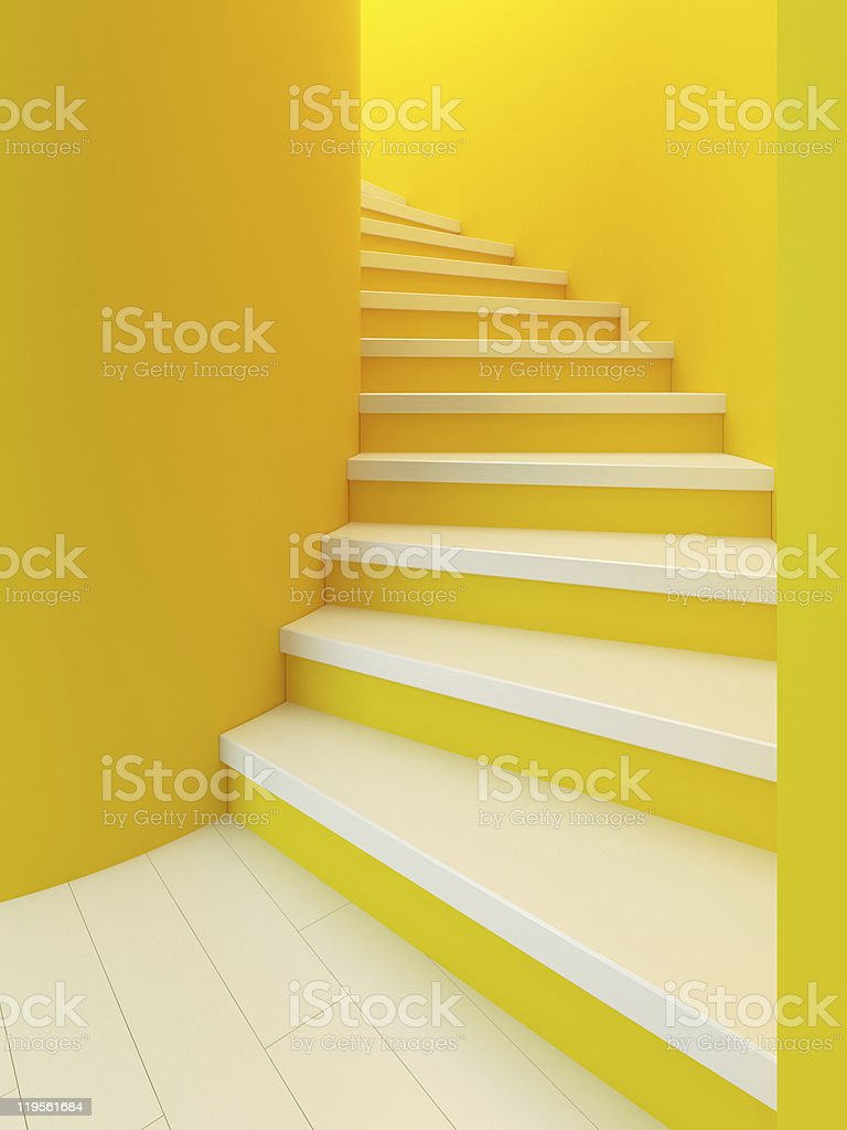 spiral wooden staircase, royalty-free stock photo